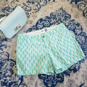 Old Navy Seahorse Print Shorts Cotton Chino Aqua